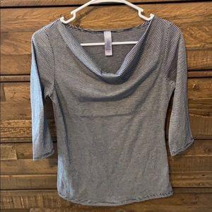 3/4 length sleeves, scoop neck shirt